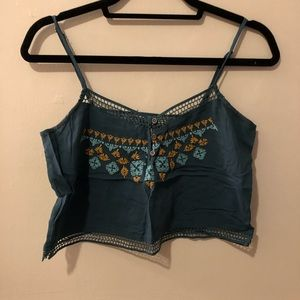 Teal boxy cropped top from pacsun